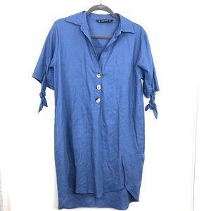 Zara Basic Blue Linen Blend Tunic Mini Dress